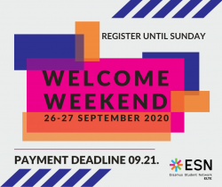Image of Welcome Weekend registration ENDS TODAY 2020-09-20