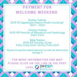 Image of Welcome Weekend 2016 Autumn payment locations and times